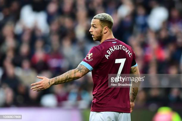 Marko Arnautovic of West Ham United looks on during the Premier League match between West Ham United and Burnley FC at London Stadium on November 3...