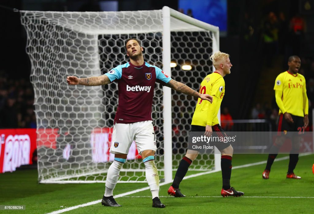Marko Arnautovic of West Ham United reacts after a missed chance during the Premier League match between Watford and West Ham United at Vicarage Road on November 19, 2017 in Watford, England.