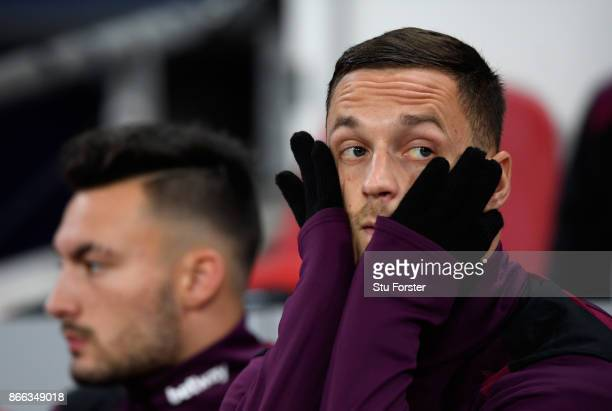 Marko Arnautovic of West Ham United reacts during the Carabao Cup Fourth Round match between Tottenham Hotspur and West Ham United at Wembley Stadium...