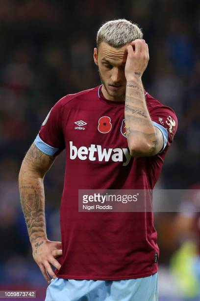Marko Arnautovic of West Ham United reacts during the Premier League match between Huddersfield Town and West Ham United at the John Smith's Stadium...