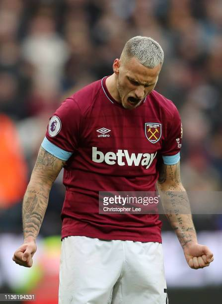 Marko Arnautovic of West Ham United reacts during the Premier League match between West Ham United and Huddersfield Town at London Stadium on March...