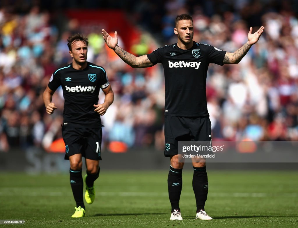 Marko Arnautovic of West Ham United reacts to being sent off during the Premier League match between Southampton and West Ham United at St Mary's Stadium on August 19, 2017 in Southampton, England.