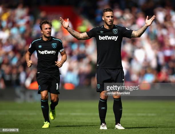 Marko Arnautovic of West Ham United reacts to being sent off during the Premier League match between Southampton and West Ham United at St Mary's...