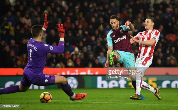 Marko Arnautovic of West Ham United scores his sides second goal pat Jack Butland of Stoke City during the Premier League match between Stoke City...