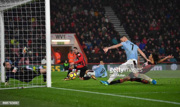 Marko Arnautovic of West Ham United scores his sides third goal during the Premier League match between AFC Bournemouth and West Ham United at...