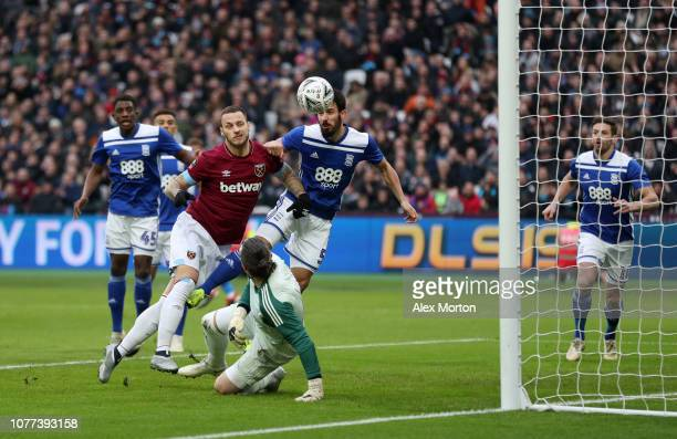 Marko Arnautovic of West Ham United scores his team's first goal during the FA Cup Third Round match between West Ham United and Birmingham City at...