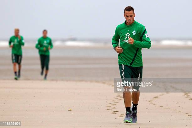 Marko Arnautovic practices during the SV Werder Bremen training session on July 4 2011 in Norderney Germany