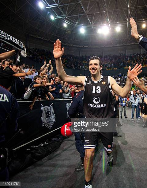 Marko Banic of Gescrap BB celebrates at the end of the Turkish Airlines Euroleague Play Off A Game Day 3 between Gescrap BB v CSKA Moscow at Bilbao...