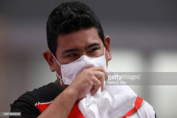 Marko Carrillo of Team Peru during the 25m Rapid Fire Pistol Men's Qualification on day ten of the Tokyo 2020 Olympic Games at Asaka Shooting Range...