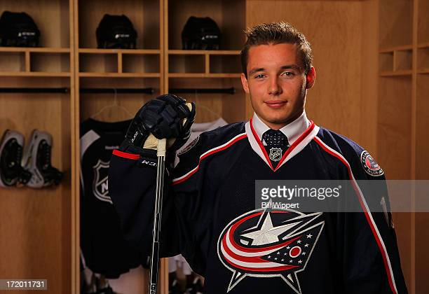 Marko Dano 27th overall pick by the Columbus Blue Jackets poses for a portrait during the 2013 NHL Draft at Prudential Center on June 30 2013 in...