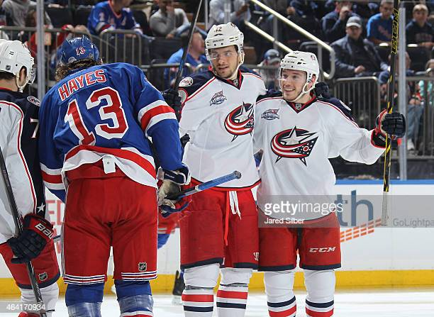 Marko Dano and Artem Anisimov of the Columbus Blue Jackets celebrate after scoring in the second period against the New York Rangers at Madison...