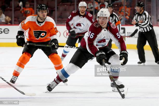 Marko Dano of the Colorado Avalanche skates past Scott Laughton of the Philadelphia Flyers during the third period at Wells Fargo Center on October...