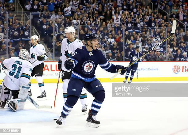 Marko Dano of the Winnipeg Jets celebrates after scoring a second period goal against the San Jose Sharks at the Bell MTS Place on January 7 2018 in...