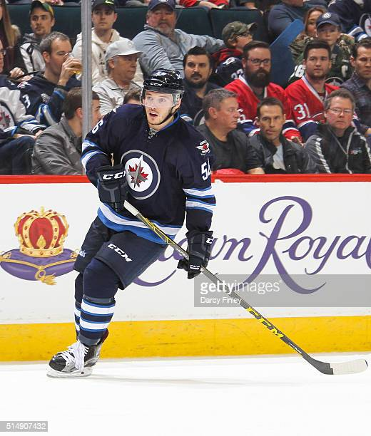 Marko Dano of the Winnipeg Jets follows the play down the ice during third period action against the Montreal Canadiens at the MTS Centre on March 5...