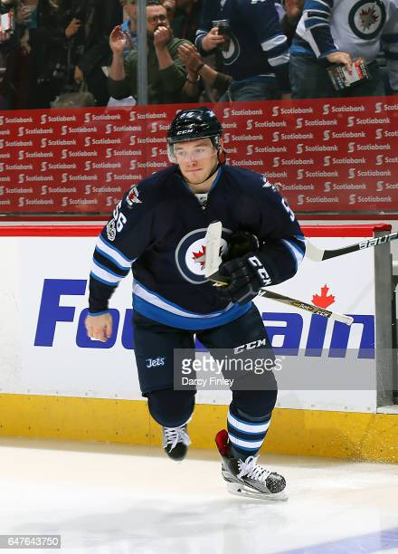 Marko Dano of the Winnipeg Jets hits the ice prior to puck drop against the St Louis Blues at the MTS Centre on March 3 2017 in Winnipeg Manitoba...