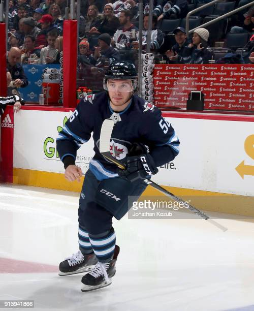 Marko Dano of the Winnipeg Jets hits the ice prior to puck drop against the Colorado Avalanche at the Bell MTS Place on February 3 2018 in Winnipeg...