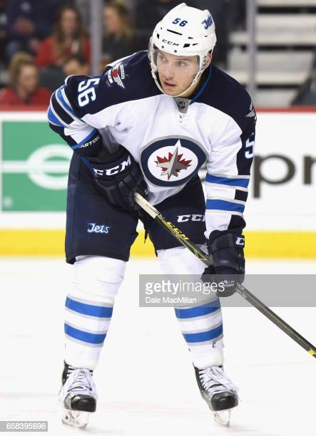 Marko Dano of the Winnipeg Jets plays in the game against the Calgary Flames at Scotiabank Saddledome on March 16 2016 in Calgary Alberta Canada