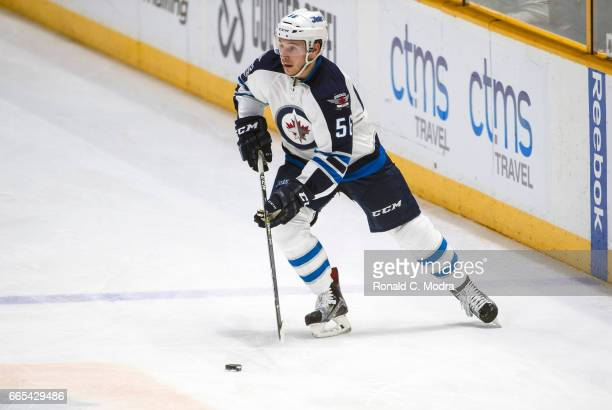 Marko Dano of the Winnipeg Jets skates against the Nashville Predators during an NHL game at Bridgestone Arena on March 13 2017 in Nashville Tennessee
