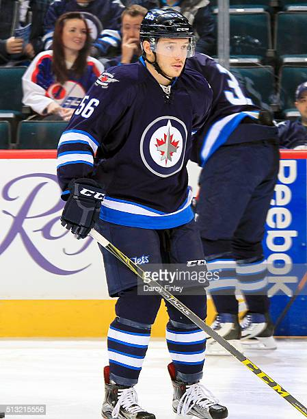 Marko Dano of the Winnipeg Jets takes part in the pregame warm up prior to NHL action against the Florida Panthers at the MTS Centre on March 1 2016...