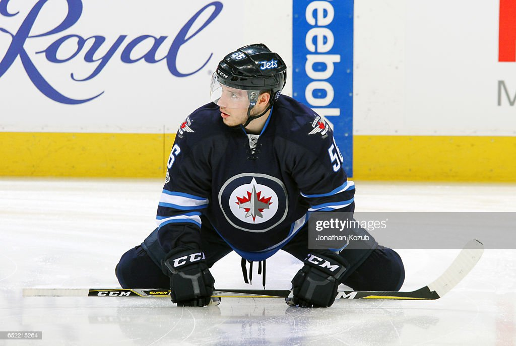 Marko Dano #56 of the Winnipeg Jets takes part in the pre-game warm up prior to NHL action against the Calgary Flames at the MTS Centre on March 8, 2017 in Winnipeg, Manitoba, Canada.