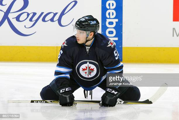 Marko Dano of the Winnipeg Jets takes part in the pregame warm up prior to NHL action against the Calgary Flames at the MTS Centre on March 8 2017 in...