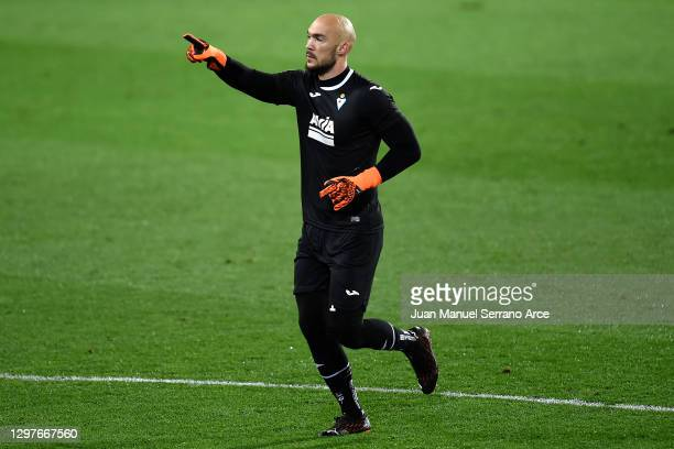 Marko Dmitrovic of SD Eibar celebrates after scoring their side's first goal from the penalty spot during the La Liga Santander match between SD...