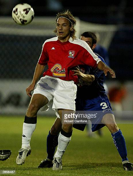 Marko Filipovic of United in action during the round 19 NSL match between the South Melbourne and Sydney United at the Bob Jane Stadium Stadium on...