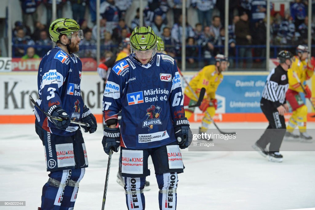 Marko Friedrich of Iserlohn looks dejected during the DEL match between Iserlohn Roosters and Duesseldorfer EG at Eissporthalle Iserlohn on January 12, 2018 in Iserlohn, Germany.