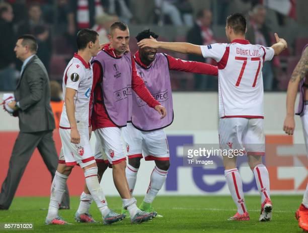Marko Gobeljic of Belgrad looks on during the UEFA Europa League group H match between 1 FC Koeln and Crvena Zvezda at RheinEnergieStadion on...