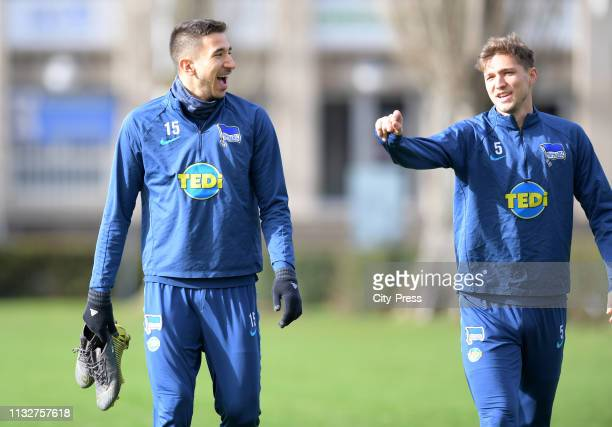 Marko Grujic and Niklas Stark of Hertha BSC before the training at the Schenkendorfplatz on march 25 2019 in Berlin Germany