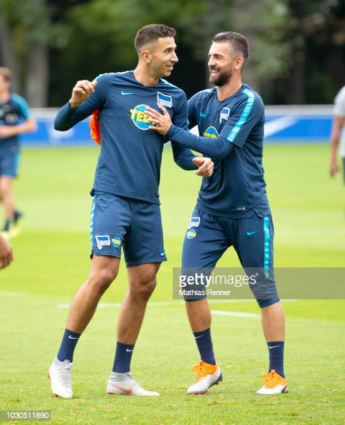 Marko Grujic and Vedad Ibisevic of Hertha BSC during the training at the Schenkendorfplatz on september 10 2018 in Berlin Germany