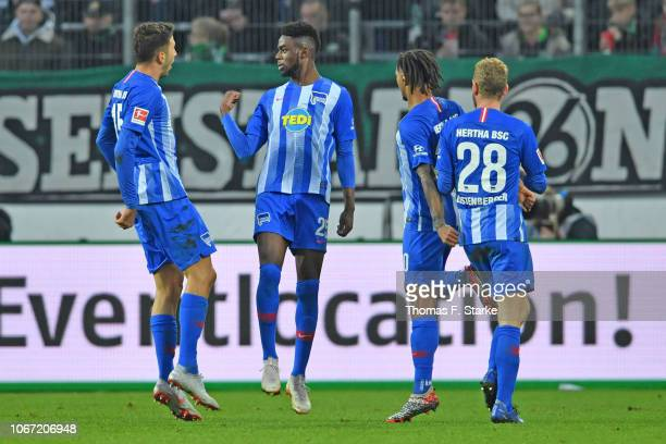 Marko Grujic Jordan Torunarigha Valentino Lazaro and Fabian Lustenberger of Berlin celebrate during the Bundesliga match between Hannover 96 and...