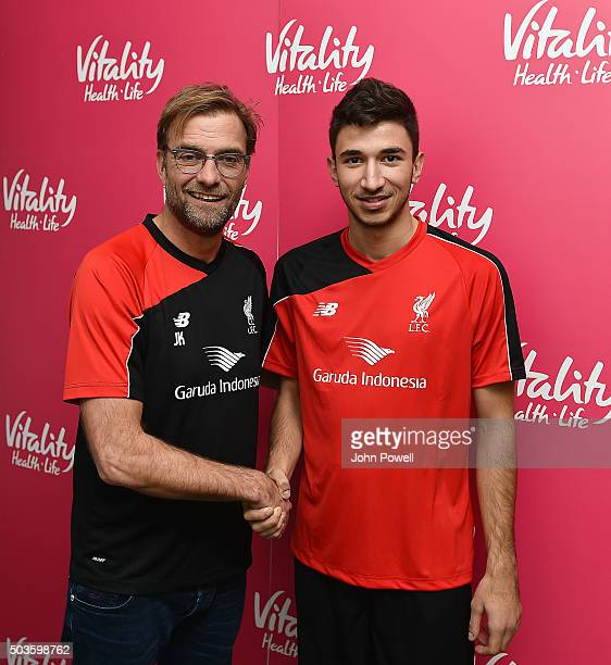 Marko Grujic new player for Liverpool with Jurgen Klopp manager of Liverpool at Melwood Training Ground on January 6 2016 in Liverpool England