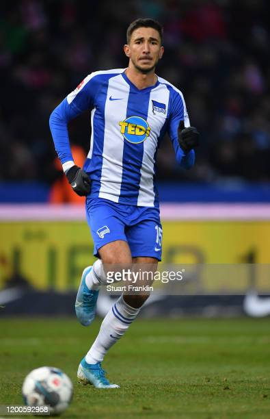 Marko Grujic of Berlin in action during the Bundesliga match between Hertha BSC and FC Bayern Muenchen at Olympiastadion on January 19, 2020 in...