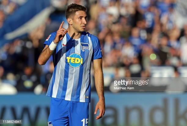Marko Grujic of Berlin reacts during the Bundesliga match between Hertha BSC and Hannover 96 at Olympiastadion on April 21, 2019 in Berlin, Germany.