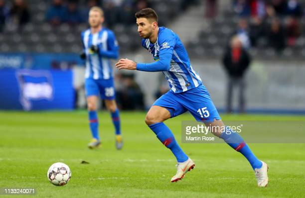 Marko Grujic of Berlin runs with the ball during the Bundesliga match between Hertha BSC and 1. FSV Mainz 05 at Olympiastadion on March 02, 2019 in...