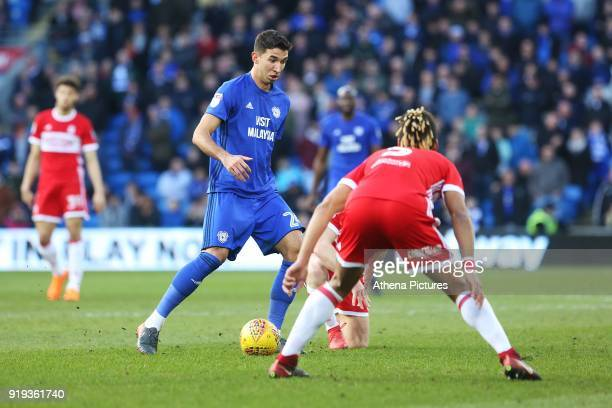 Marko Grujic of Cardiff City is marked by Ryan Shotton of Middlesbrough during the Sky Bet Championship match between Cardiff City and Middlesbrough...