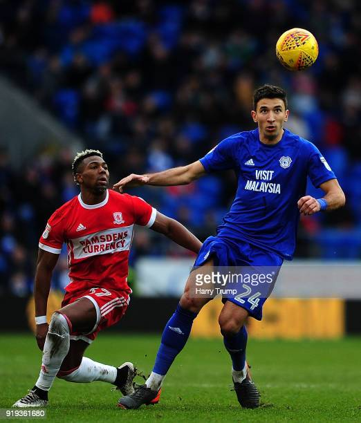 Marko Grujic of Cardiff City is tackled by Adama Traore of Middlesbrough during the Sky Bet Championship match between Cardiff City and Middlesbrough...