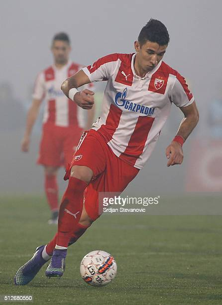 Marko Grujic of FK Crvena Zvezda in action during the Serbian Super League match between FK Partizan and FK Crvena Zvezda at Stadium FK Partizan on...