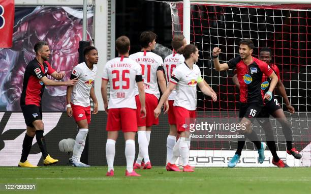 Marko Grujic of Hertha Berlin celebrates after he scores the opening goal during the Bundesliga match between RB Leipzig and Hertha BSC at Red Bull...