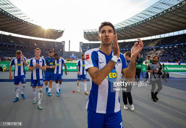 Marko Grujic of Hertha BSC acknowledges the fans after the Bundesliga match between Hertha BSC and SC Paderborn 07 at Olympiastadion on September 21,...