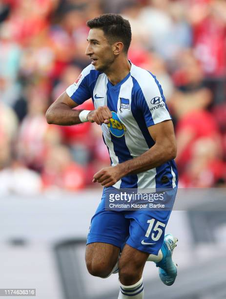 Marko Grujic of Hertha BSC celebrates after scoring his team's first goal during the Bundesliga match between 1. FSV Mainz 05 and Hertha BSC at Opel...