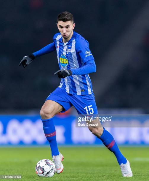Marko Grujic of Hertha BSC runs with the ball during the Bundesliga match between Hertha BSC and FC Schalke 04 at Olympiastadion on January 25 2019...