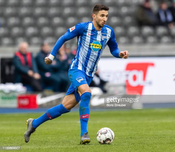 Marko Grujic of Hertha BSC runs with the ball during the Bundesliga match between Hertha BSC and 1 FSV Mainz 05 at Olympiastadion on March 02 2019 in...