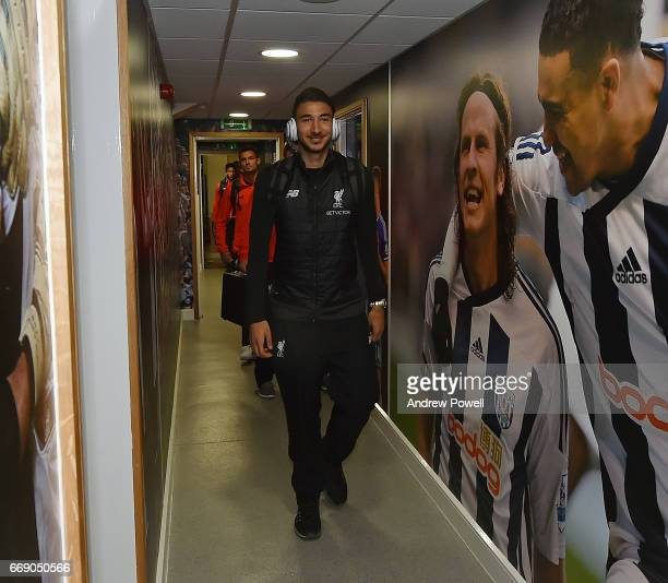 Marko Grujic of Liverpool arrives before the Premier League match between West Bromwich Albion and Liverpool at The Hawthorns on April 16 2017 in...