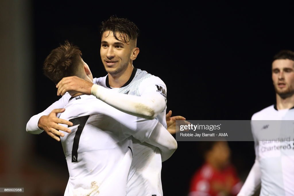 Marko Grujic of Liverpool celebrates after scoring a goal to make it 1-2 during the Premier League 2 fixture between Manchester United and Liverpool at Leigh Sports Village on October 23, 2017 in Leigh, Greater Manchester.