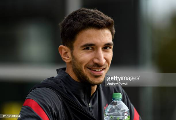 Marko Grujic of Liverpool during a training session at Melwood Training Ground on September 26, 2020 in Liverpool, England.