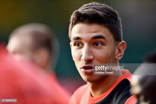 Marko Grujic of Liverpool during a training session at Melwood Training Ground on October 27 2016 in Liverpool England
