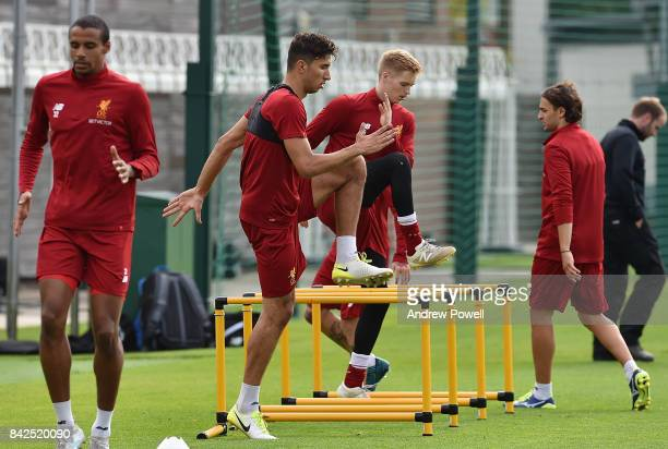 Marko Grujic of Liverpool during a training session at Melwood Training Ground on September 4 2017 in Liverpool England