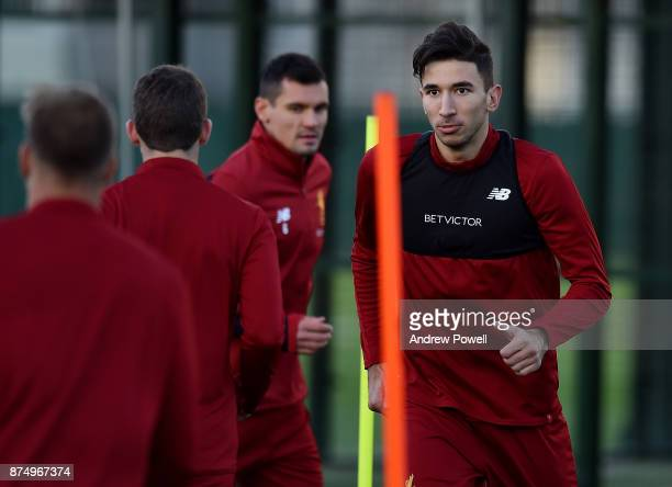 Marko Grujic of Liverpool during a training session at Melwood Training Ground on November 16 2017 in Liverpool England